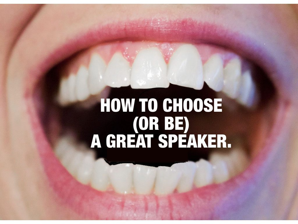Image of mouth and the text: How to choose or be a great guest speaker.