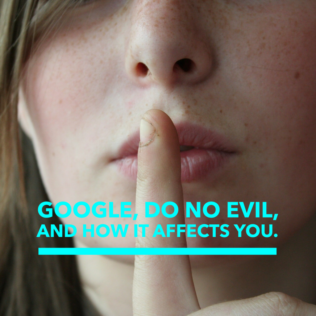 image of girl with finger to her lips. concept of Google, do no evil.